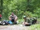 Dirt and Jesse Eating down their packweights by doggiebag in Thru - Hikers