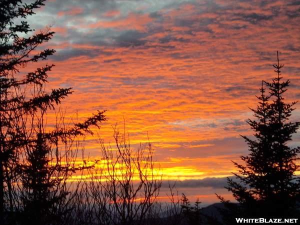 Sunset near the Liberty Spring tentsite - NH