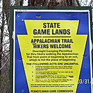 PGC regulations for camping on the AT on SGL lands in Pa.