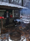 Pine Knob getting the fire going by sasquatch2014 in Maryland & Pennsylvania Shelters