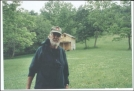 Don Quioxte outside the Secret Shelter by Hammock Hanger in New Jersey & New York Shelters