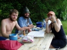 Thru-hikers at Eckville Shelter by shades of blue in Thru - Hikers