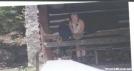 Lunch break @ Locked PATC cabin by Hammock Hanger in Thru - Hikers