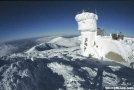 Fisheye view of Mount Washington in winter