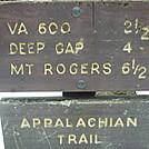 Trail sign near Whitetop summit