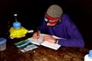 Writing In Log by Downhill Trucker in Trail & Blazes in Virginia & West Virginia