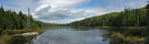 2009-0914c Moss Pond Pano by Highway Man in Trail & Blazes in New Hampshire