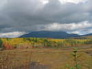 2009-1005b Mt Katahdin From Park Boundary by Highway Man in Trail & Blazes in Maine