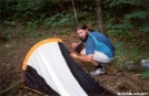 Setting up the tent on the Long trail