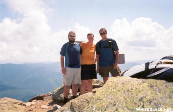 Baloo, Jumpstart & day hiker friend Matt on summit fo Mt. Lafayette