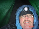Winter Hammocking Five Degrees - Self-portrait by Tinker in Hammock camping