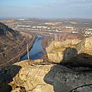 view from top of Lehigh Gap towards Palmerton