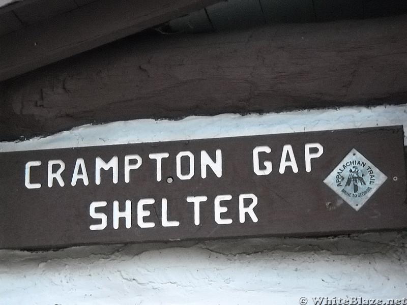 Crampton Gap Shelter sign