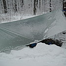 Raising tarp front to allow more space to pack up by Tinker in Hammock camping
