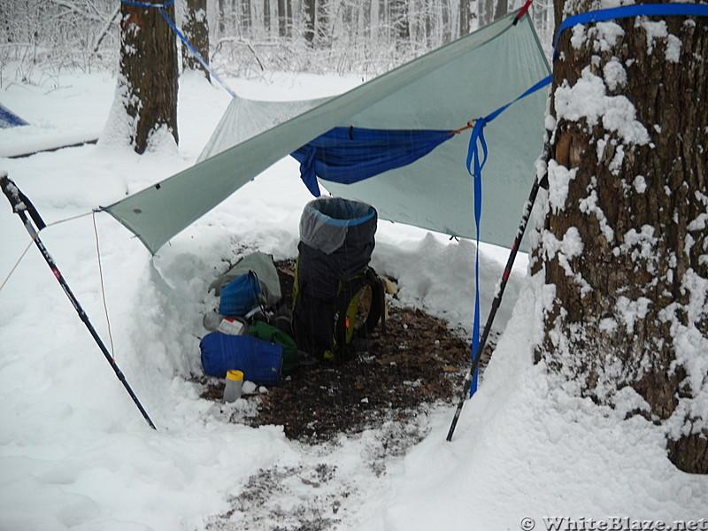 Snow Camping Hammock And Tarp Monday Morning In Md