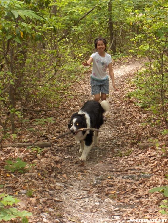 "Star ""Flopsy"" and BJ running on the AT near Blackburn Trail Center"