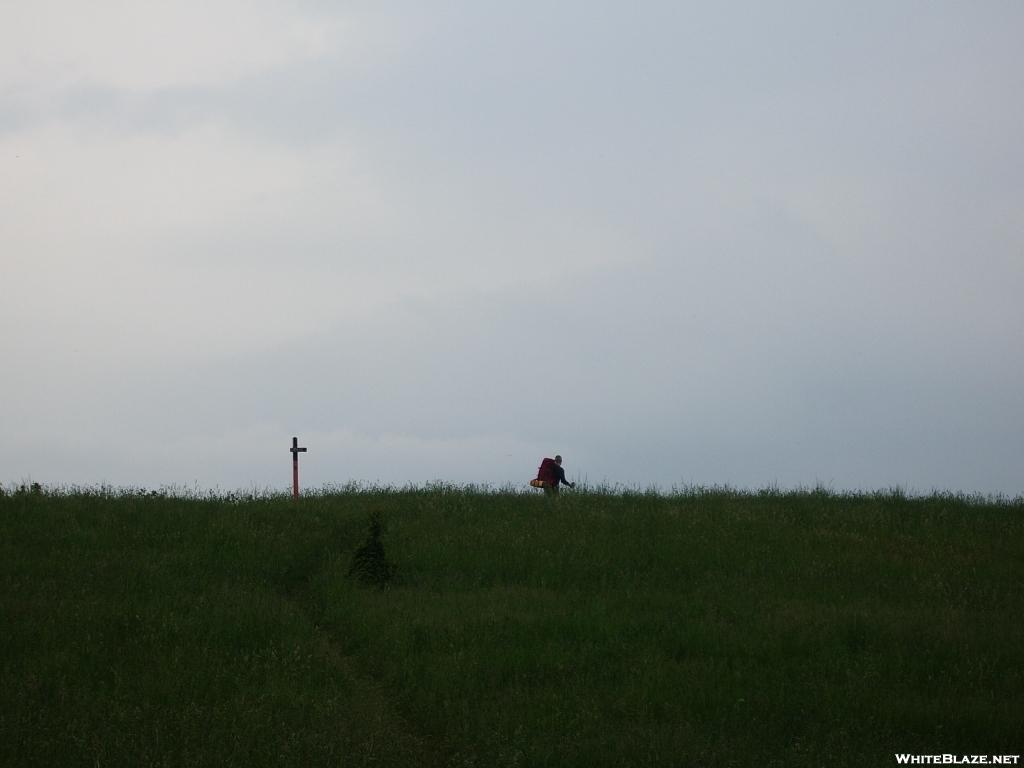 Hiker (Kong) leaving Rice Field Shelter