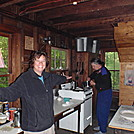 Reverend Chief and Joanne in the Goose Pond Cabin Galley by coach lou in Section Hikers