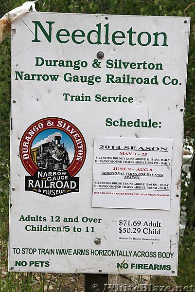 One-way train ares from Needleton to Durango or Silverton