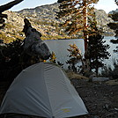 Campsite overlooking Garnet Lake on John Muir Trail