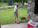 Cookerhiker tending the burgers