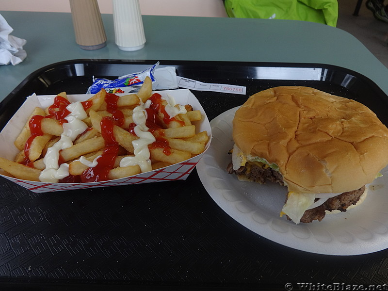 Burger & fries at the Creeper Cafe