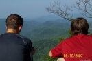 Bandit and Lone Wolf enjoying view off Blood Mountain