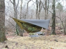 Hammock and underquilt next to stream by Patrick in Hammock camping