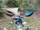 Hanging hammocks at Gooch Gap