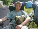 My son napping with his new Speer hammock by Skidsteer in 2006 Trail Days