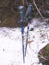 My skipoles in snow