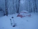 Morning Snowstorm At -5f by Tipi Walter in Tent camping
