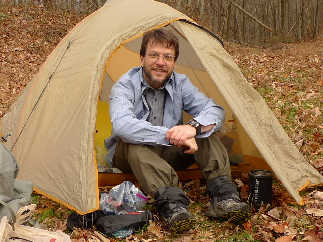 Patman In His Big Agnes Firefly Tent