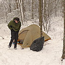 Patman Squares Away His Big Agnes Tent In The Snow