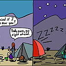 Camp near by attroll in Boots McFarland cartoons