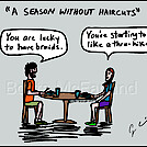 Hair cut by attroll in Boots McFarland cartoons