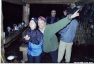 Swiss Miss with Weatherman in Peck's Corner Shelter in the Smokey Mtn's